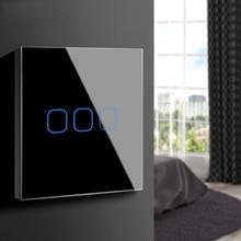 Interruptor táctil 3,2,1 Gang 1 Way, interruptor de pantalla táctil de luz de pared, Panel de interruptor de cristal apto para bombilla LED para lámpara 220V 230V EU UK