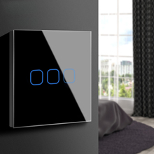 Touch Schakelaar 3,2,1 Gang 1 Manier, Muur Light Touch Screen Switch, crystal Glass Switch Panel Fit Voor Led Lamp 220V 230V Eu Uk