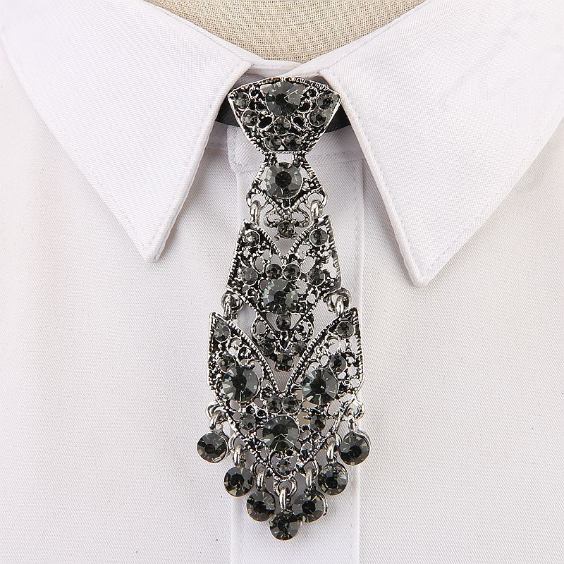 Fashion Personality Crystal Neckties Trendy General Korean Wine Party Wedding Ceremony Metal Short Luxury Tie Men Accessories