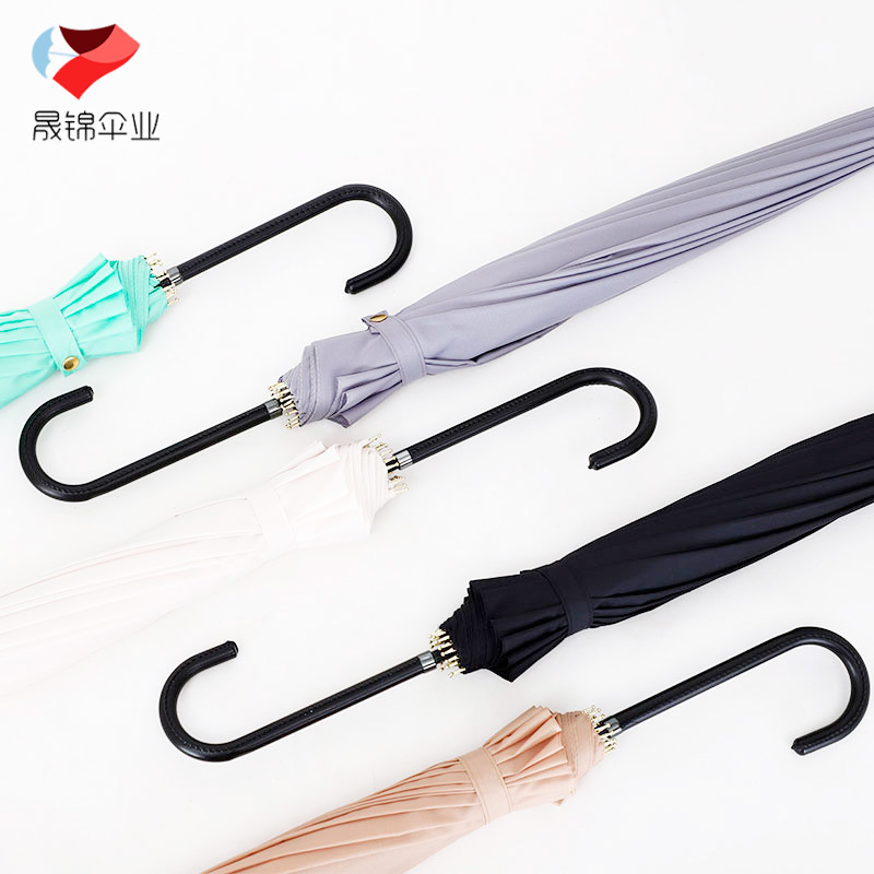 2018 New Style Cool Leather Handle Straight Umbrella Manufacturers Currently Available Automatic Rainbow All-Weather Umbrella Cu