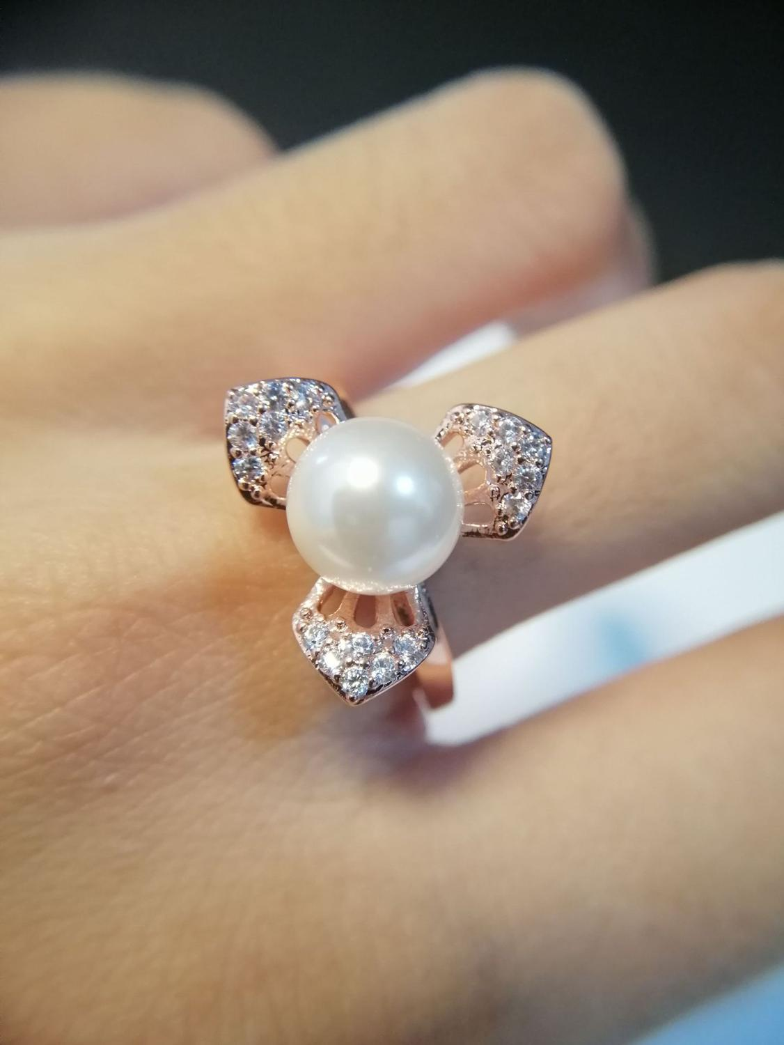Linmouge Fashion Open Ring For Women Lady Three Leaf With Simulated Pearly Elegant Engagement Simple Adjusetable Jewelty RF29