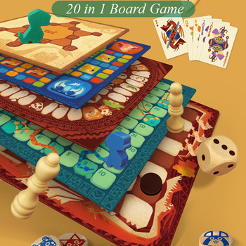 Baby Inner 20 In 1 Board Game Toys Kids Party Game Wooden Toy Educational Parent-Child Chess Puzzle for Boys and Girls 5-13Y