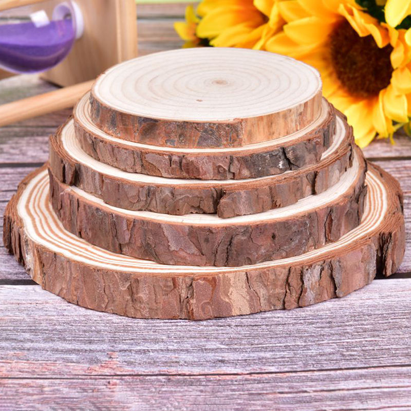 Circles Log-Discs Wood-Slices Diy Crafts Party-Painting Unfinished Round Tree-Bark Wedding title=