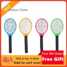 Multifunctional Double Circle Design Handheld Electric Tennis Racket Battery Powered Electric Mosquito Swatter