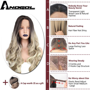 Image 5 - ANOGOL Deep Brown Ombre Blonde Synthetic Lace Front Wigs with Dark Roots Long Body Wave Wig for Women