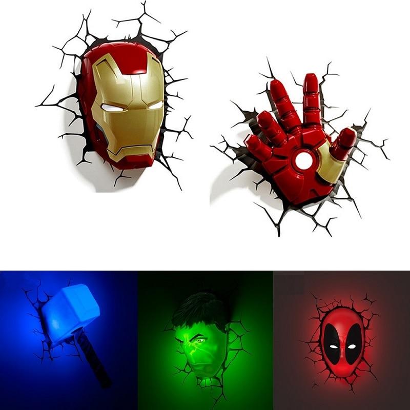 Creative 3D Marvel LED Wall Lamp Decor Avengers Series Iron Man Hulk Captain America Deadpool Night Light Christmas Kids Gifts