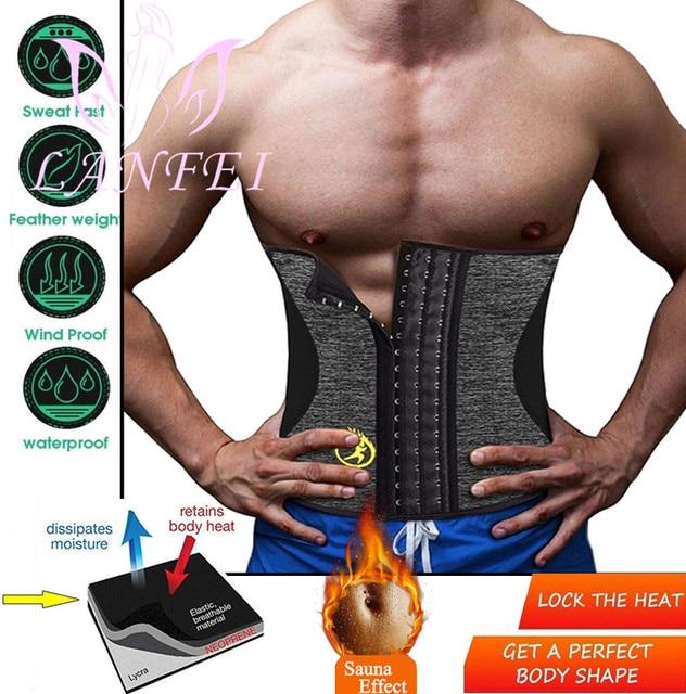 LANFEI Men Hot Neoprene Waist Trainer Trimmer Belt Workout Fitness Slimming Corset Shapwear Sauna Sweat Body Shaper Strap Girdle 1