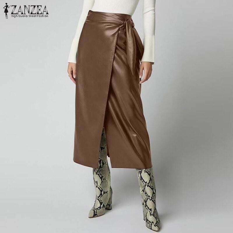 Fashion PU Leather Skirts Women's Button Vestidos ZANZEA 2020 High Waist Split Lace-Up Midi Skirts Female Solid Robe Plus Size