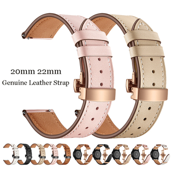 20mm 22mm Genuine Leather Strap Rose Gold Butterfly Buckle Band for Samsung Galaxy Active2 42mm Gear S3 Amazfit GTS Smart Watch