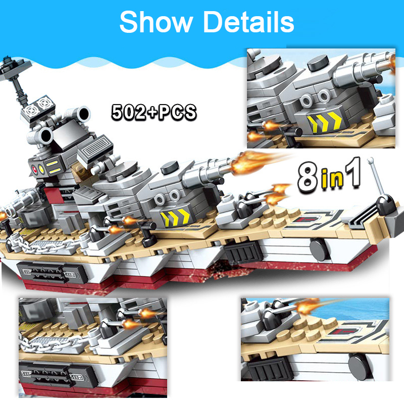 Toys For Children Compatible With LegoINGlys Battleship 502+PCS  8 IN 1 Warship Building Blocks Military Bricks With Mini Figure (10)