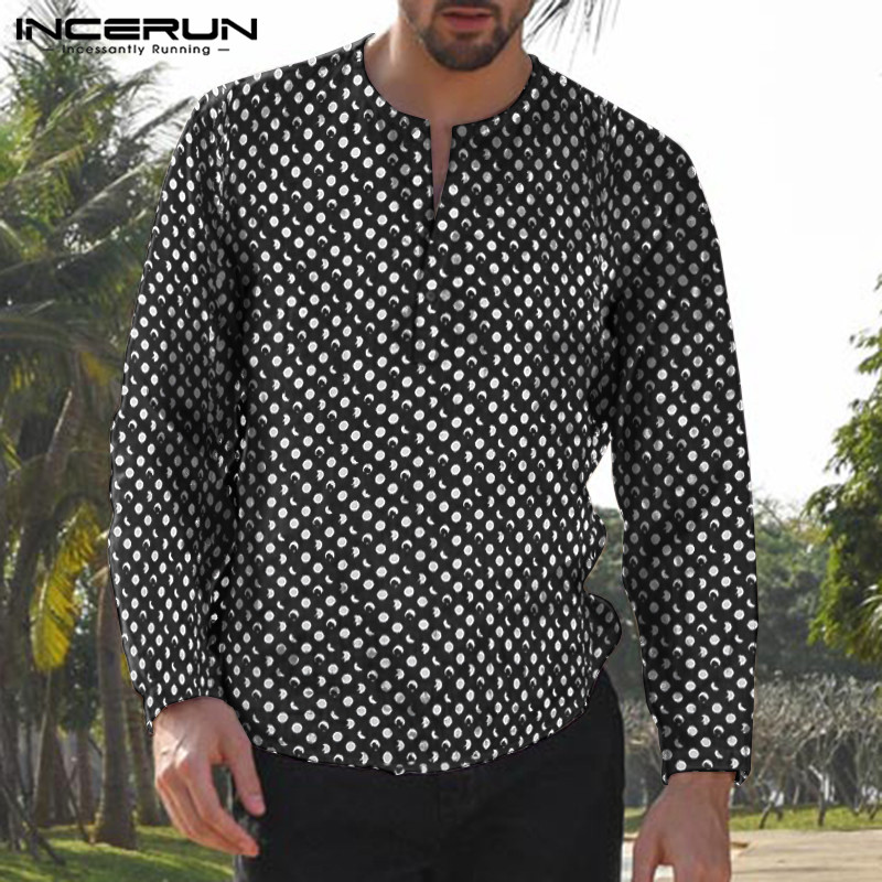 INCERUN Autumn <font><b>Men</b></font> <font><b>Polka</b></font> <font><b>Dot</b></font> <font><b>Shirt</b></font> Long Sleeve V Neck Streetwear Vintage Loose Button Fashion Classic <font><b>Shirts</b></font> <font><b>Men</b></font> Camisa 2019 5XL image