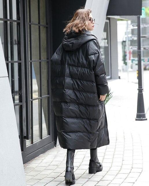 [EAM] 2020 nouveau hiver à capuche à manches longues couleur unie noir coton rembourré chaud ample grande taille veste femmes parkas mode JD12101 4