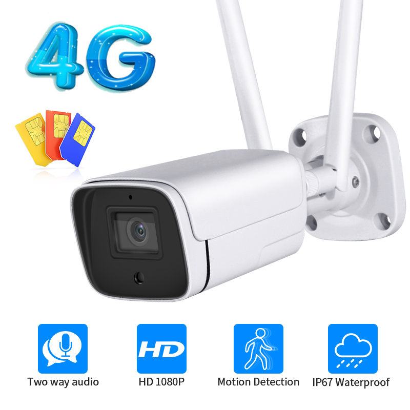 1080P FHD Открытый металлическая IP камера WI-FI 4G сим-карта видео камеры видеонаблюдения Пуля CCTV камера двусторонний пистолет камера