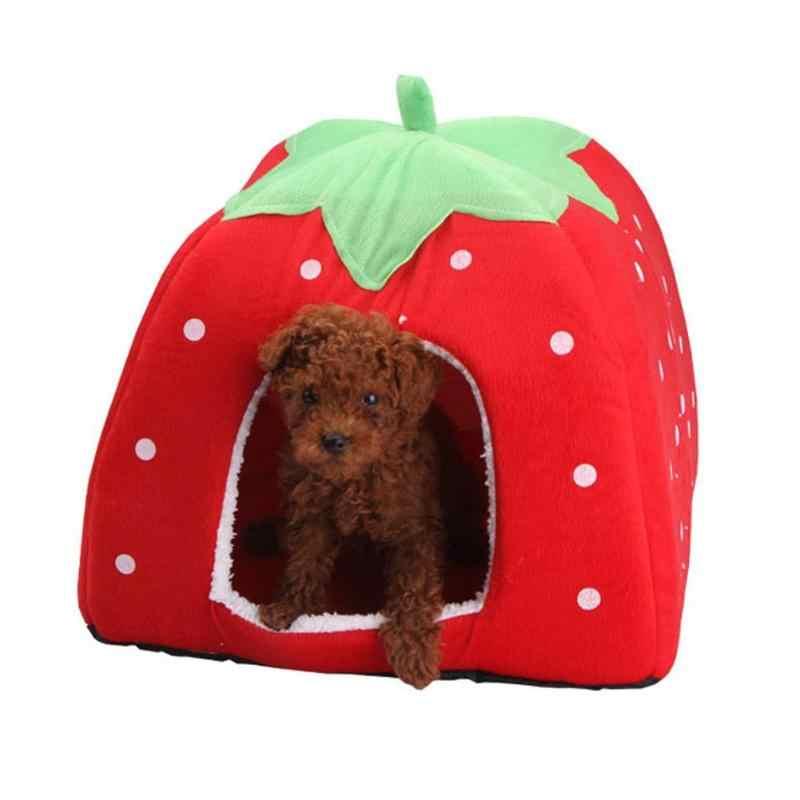 Molle Della Fragola Pet Dog Cat House Canile Pieghevole Doggy Inverno Caldo Cuscino Basket Animale Tenda Letto Cani Pet Prodotto