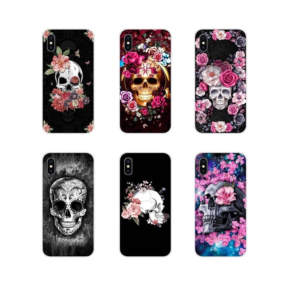 Flip Phone Pouch with Lanyard Glow in the Dark Skulls and Bones