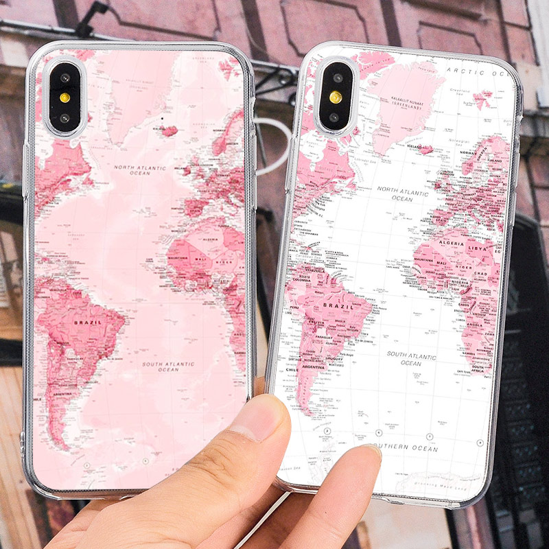 Soft Silicone Luxury Phone Case For iPhone 8 7 6 6s Plus X XR Xs Max Cartoon World Map Plane Sea Plane Soft TPU back cover Coque image