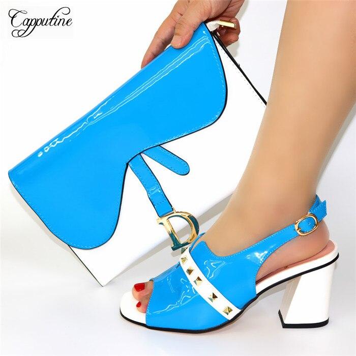 Изящные Вечерние комплект белого и голубого цвета, высокий каблук, сандалии с кошелек элегантная обувь и сумка в вечернем комплекте 8108 Высота каблука 8 см, размеры 38–44 - 2