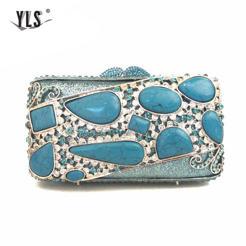 YLS márka dizájn női női kék drágakő kuplungok strasszos esti - Kézitáskák