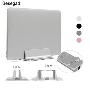 Besegad Vertical Adjustable Laptop Stand Aluminium Portable Notebook Mount Support Base