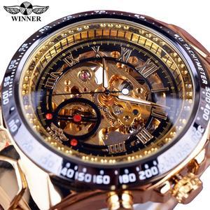 Winner Mechanical Sport Design Bezel Golden Watch Mens Watches Top Brand Luxury Montre Homme Clock Men Automatic Skeleton Watch(China)