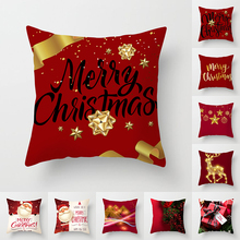 Nordic Merry Christmas Polyester Home Decorative Cushion Cover For Sofa Seat Red Printing Throw Pillow Cover 45x45cm Pillowcase
