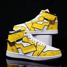 Pokemon Pikachu Casual Shoes Men Hip Hop Shoes Fashion Clunky Sneakers Men Casual Shoes Travel Mens Running Shoes High Top