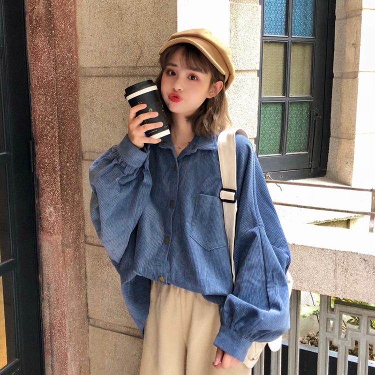 2020 New Spring Summer Autumn Hot Selling Women's Fashion Casual Ladies Work Shirts Corduroy Top Clothing Dropshipping