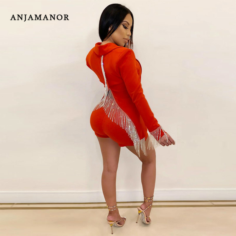 ANJAMANOR Fashion Fall Plus Size 2 Piece Womens Outfits Open Back Tassel Blazer And Shorts Sexy Club Two Piece Set D43-AG24