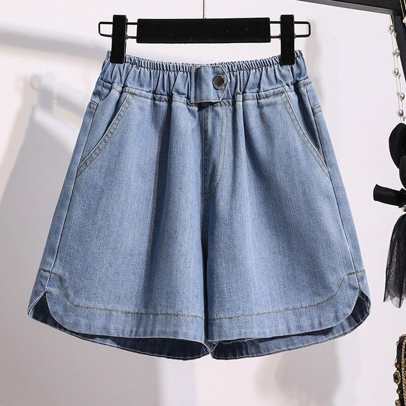 Women's Jeans Plus Size Summer Jeans Shorts Elastic High Waist Wide Leg Pants Girls Loose Jeans Shorts Softener Denim Shorts