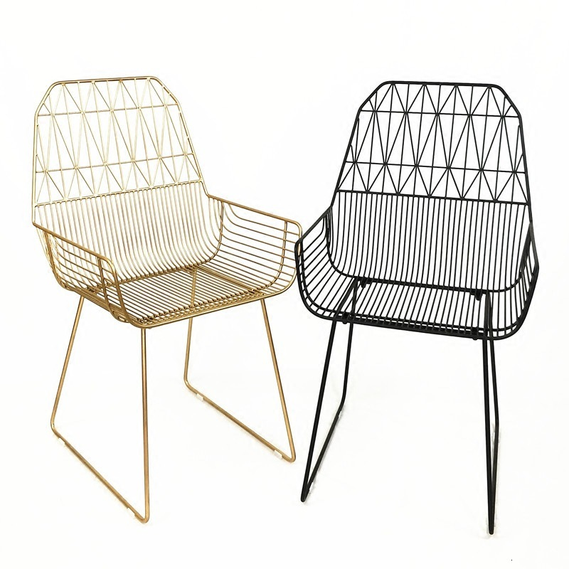 European-style Gold Hollow Wire Chair Creative Home Iron Dining Chair Simple Casual Casual Milk Tea Shop Coffee Shop Chair
