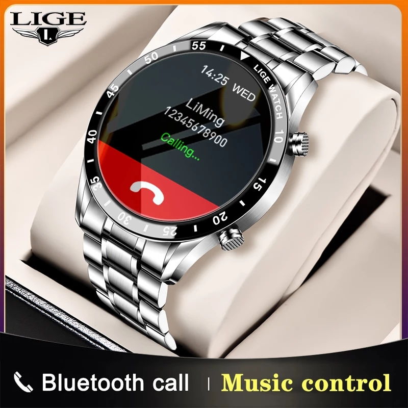 LIGE 2021 новый бизнес Смарт часы вызовов через Bluetooth, умные часы для мужчин и женщин, Водонепроницаемый Спорт Фитнес-браслет для IOS Android Honor 1