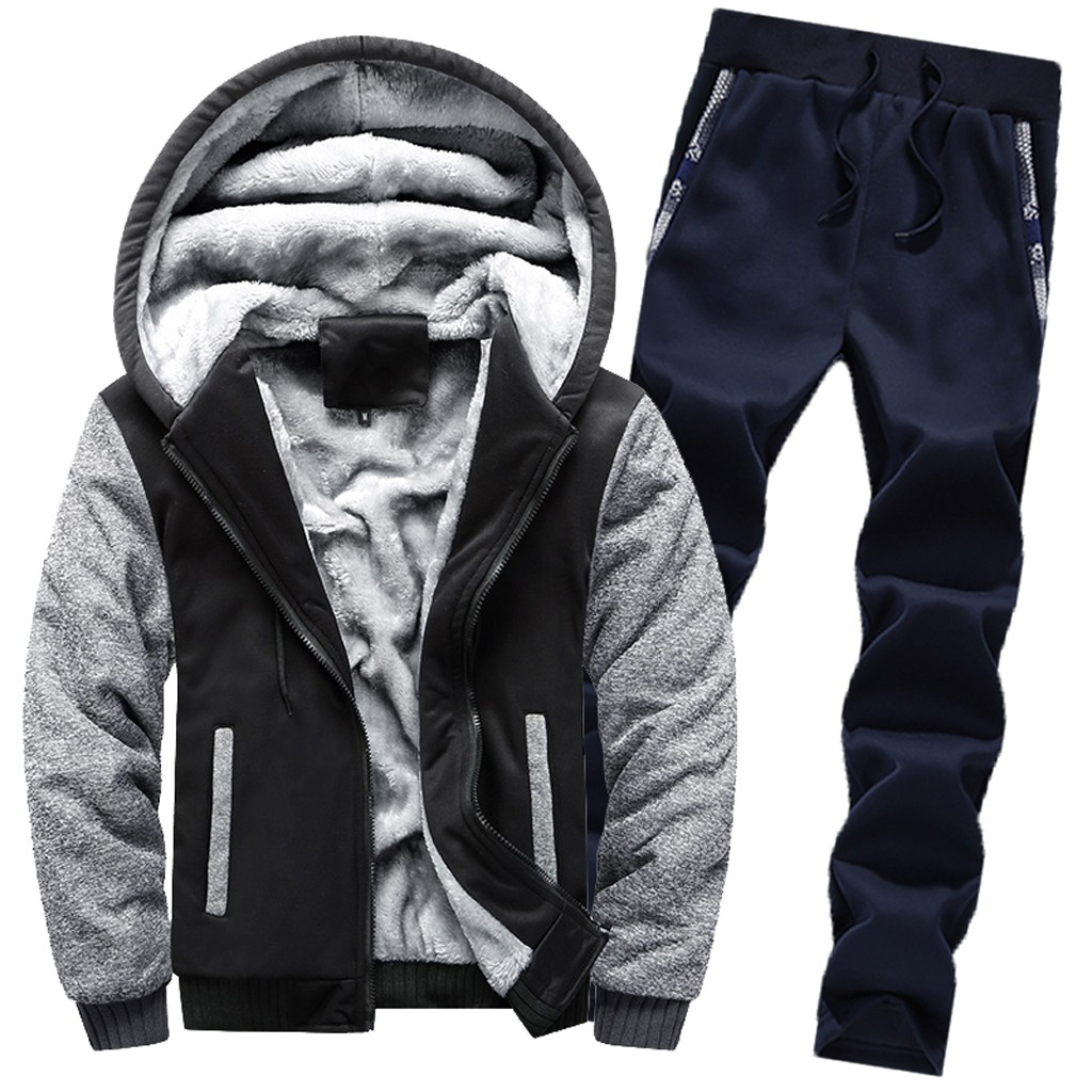 Mens Clothing Mens Hoodie Winter Warm Fleece Zipper Sweater Jacket Outwear Coat Top Pants Sets спортивный костюм мужской