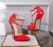 New fashion sexy nightclub pole dance pointed metal heel high heels women's 16 cm hollow sandals double wrist strap high heels