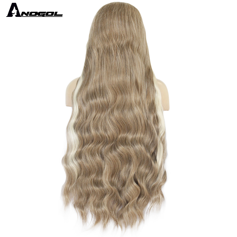 Anogol Long Natural Wave Red Synthetic Lace Front Wigs Free Part High Temperature Fiber Hair Wig For Women