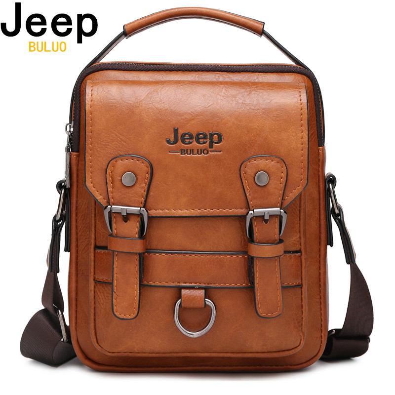 JEEP BULUO Multi-function Men Handbags New Man's Crossbody Shoulder Bag Large Capacity Leather Messenger Bag For Man Travel Cool