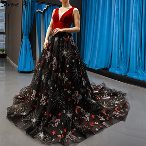 Image 1 - Red Black Embroidery Sepuins Sexy Evening Dresses 2020 A Line Neck Sparkle Formal Dress Serene Hill HM66808