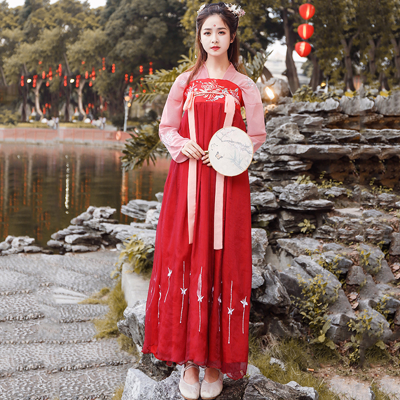 Red Embroidery Hanfu Classical Dance Costume Women Folk Fairy Dress Festival Outfit Singer Stage Rave Performance Clothes DF1392