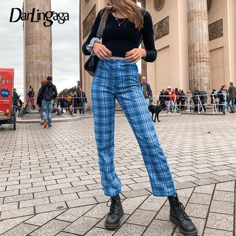 Darlingaga Harajuku Straight Blue Plaid Pants Women Casual Checkered Women's Trousers Streetwear High Waist Pants Sweatpants New