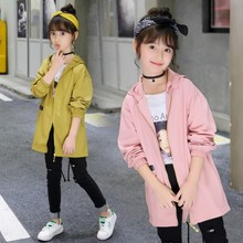 Kids Windbreaker 4-16Y Trench Coat for Girl Outerwear Children Coats Hooded Jacket Boy Tops Autumn Baby Clothes