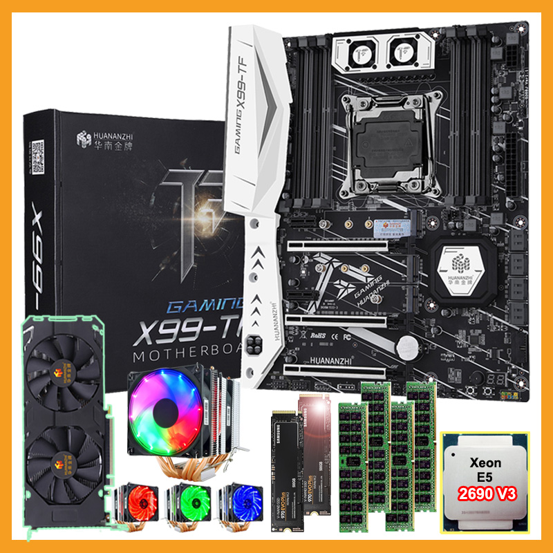 HUANANZHI X99-TF LGA2011-3 Motherboard Bundle With DUAL 500G M.2 NVMe SSD M.2 WIFI CPU 2690 V3 Cooler RAM 64G(4*16G) DDR4 RECC
