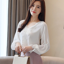 Korean Fashion Chiffon Women Blouses Lace V-Neck Long Sleeve White women shirts Plus size XXL