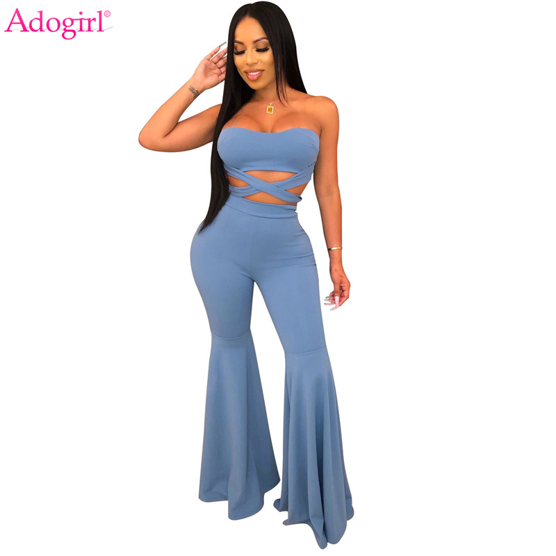 Adogirl Women Fashion Sexy Two Piece Set Strapless Halter Crop Top Flare Pants 2020 Spring Summer Clothes Female Suits