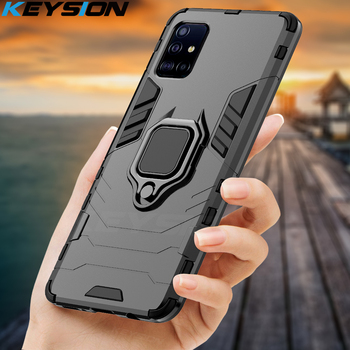 KEYSION odporny na wstrząsy etui do Samsung A51 A71 A31 telefon pokrywa dla Galaxy S20 Ultra S10 Lite uwaga 10 Plus A50 A70 A40 A10 A01 A21S tanie i dobre opinie Aneks Skrzynki Shockproof Magnetic Ring Car Phone Holder case GALAXY serii GALAXY S10 LITE GALAXY S10 PLUS GALAXY S10E GALAXY A50