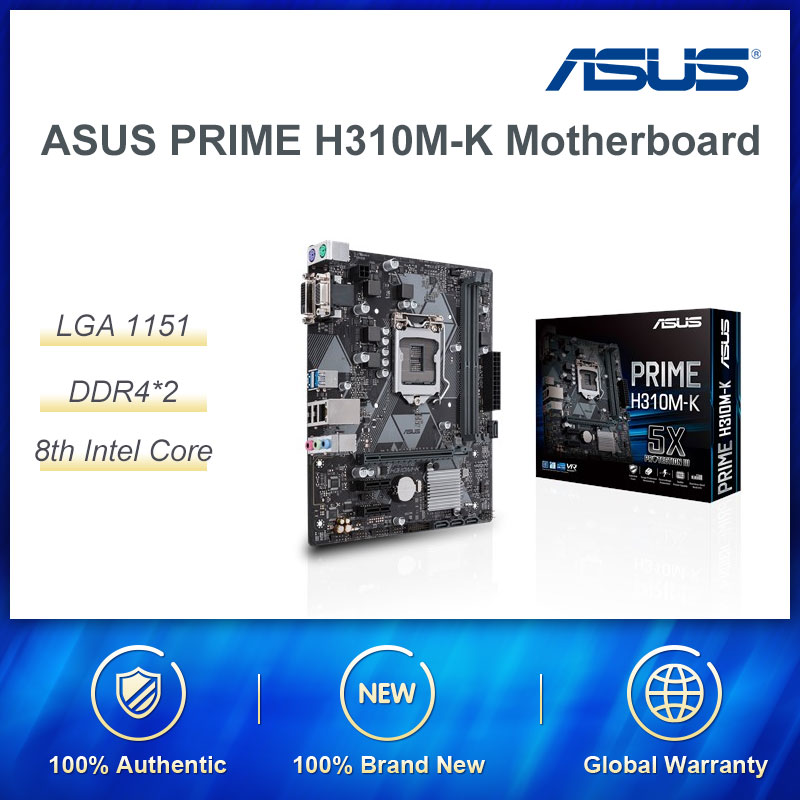 <font><b>ASUS</b></font> PRIME H310M-K R2.0 Intel H310/LGA <font><b>1151</b></font> Gaming <font><b>Motherboard</b></font> Support Windows7 Front USB3.1 interface Excellent Thermal Design image