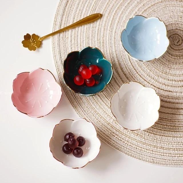 Flower Ceramic Dishes Seasoning Dipping Bowl Sakura Ceramic Dish Cherry Blossom Trinket Plate Sauce Dish Flower Dish for Kitchen