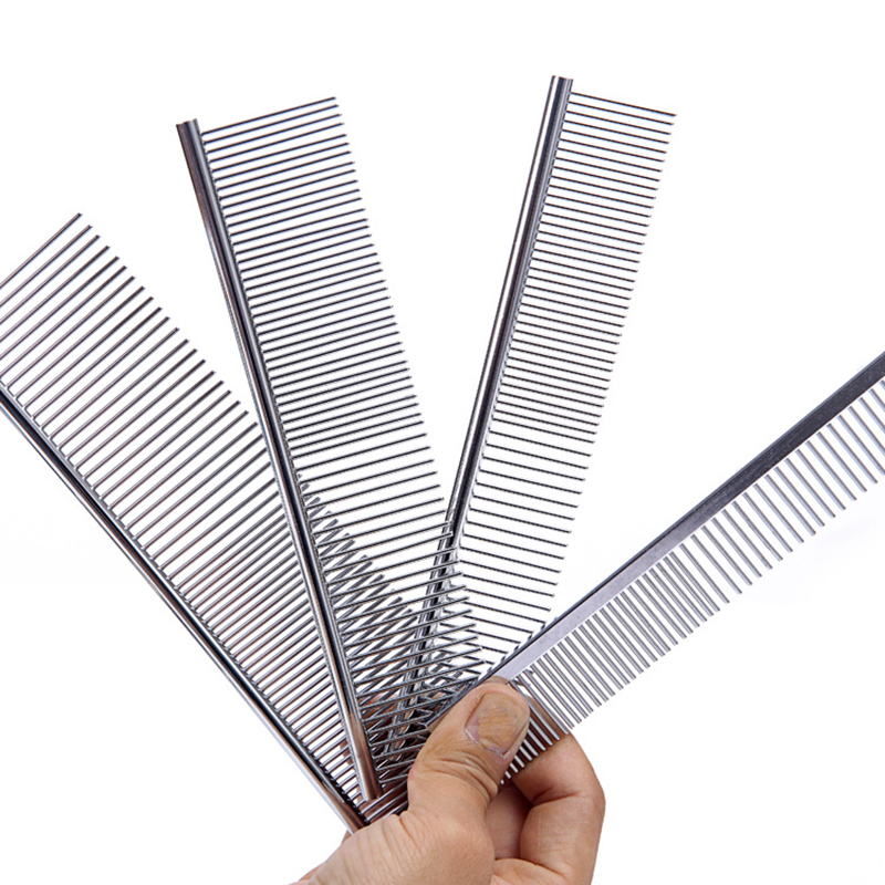 1pcs Dog Comb Long Thick Hair Fur Removal Brush Stainless Steel Lightweight Pets Dog Cat Grooming Combs For Shaggy Dogs Barber in Dog Combs from Home Garden
