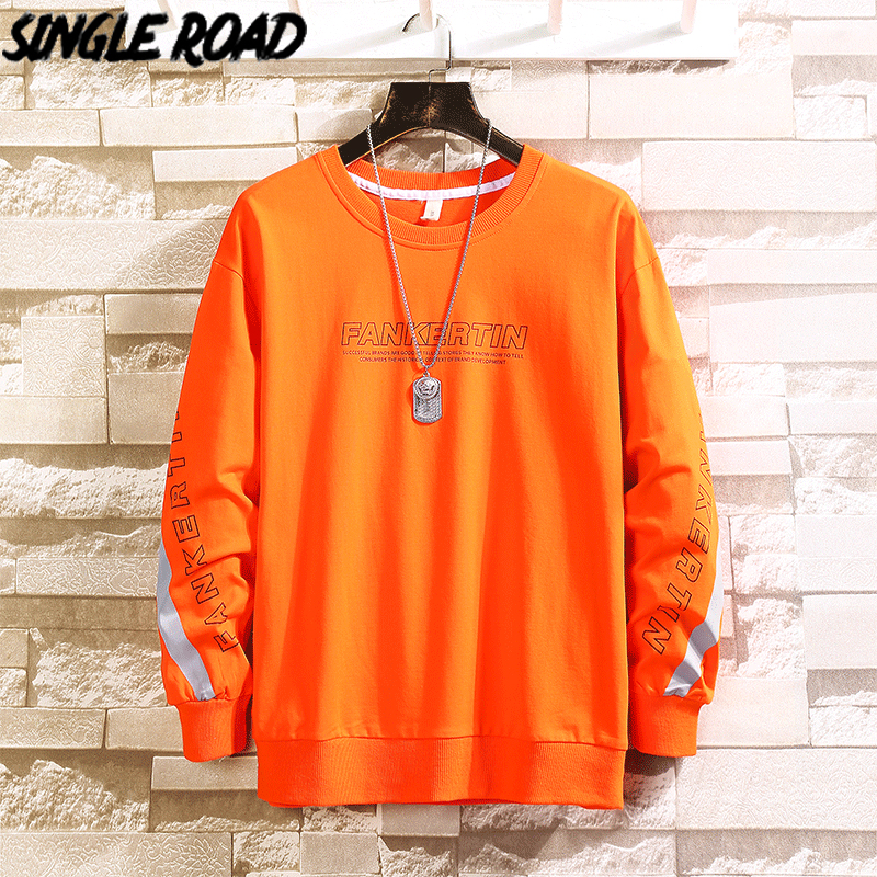 SingleRoad Men's Crewneck Sweatshirt Men 2020 Reflective Stripe Oversized Japanese Streetwear Hip Hop Male Orange Hoodies Men