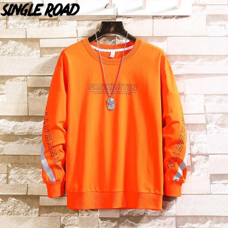 SingleRoad Men's Crewneck Sweatshirt Men 2020 Reflective Stripe Oversized Japanese Streetwear Hip Hop Male Orange Hoodies Men