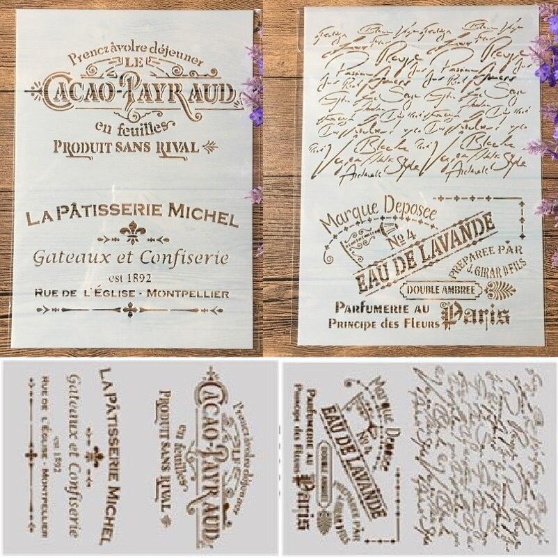 2 Pçs/lote A4 Palavras em Francês DIY Ofício Camadas Stencils Pintura Álbum de Scrapbooking Stamping Embossing Molde de Papel