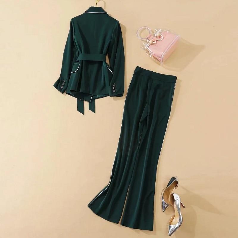 Blazer Sets 2020 Autumn Winter Fashion Suit Set Women White Striped Color Block Blazer Jackets+Flare Leg Green Long Pant Set 2pc
